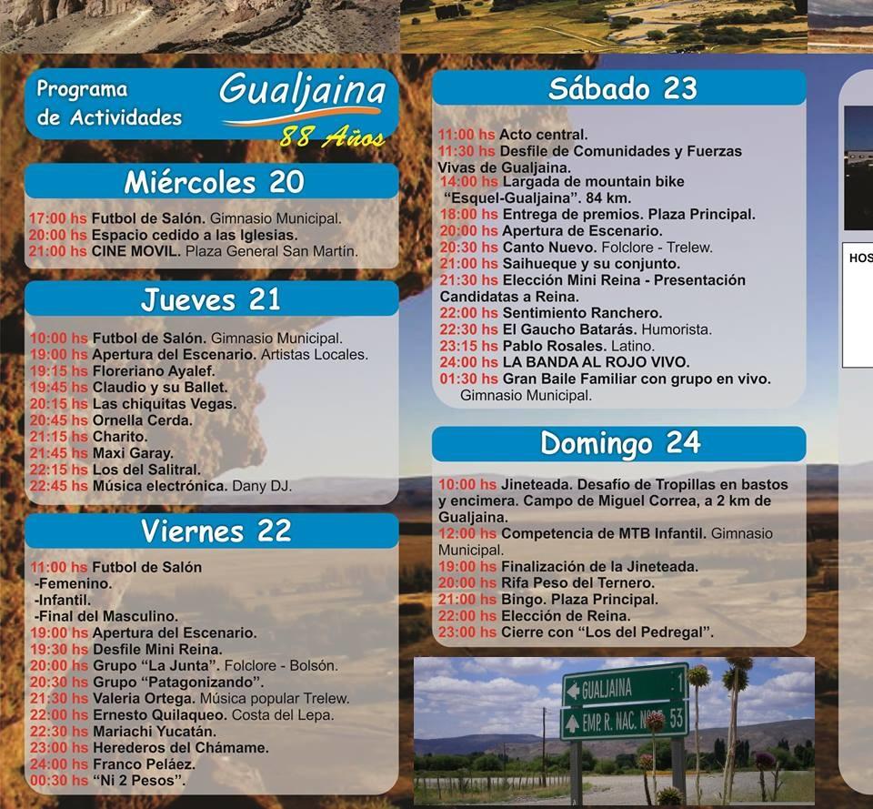 Programa actividades aniversario de Gualjaina
